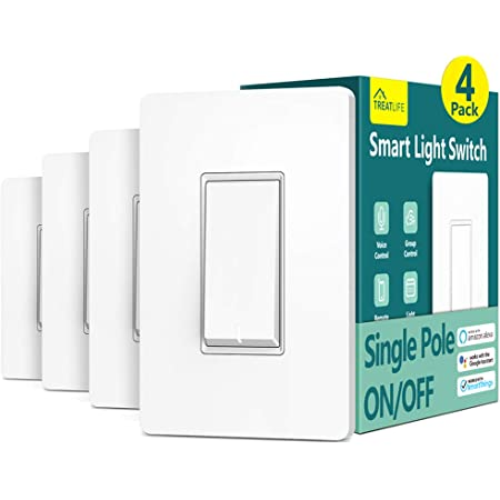 Smart Light Switch Treatlife Single Pole Smart Switch Works with Alexa, Google Home and SmartThings, 2.4GHz Wi-Fi Timer Light Switch, Neutral Wire Required, No Hub Required, ETL Listed, FCC, 4 Pack