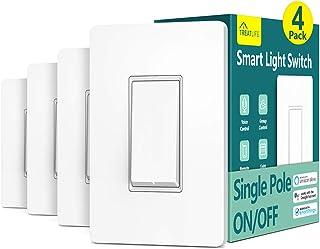 سوئیچ چراغ هوشمند ، سوئیچ نوری Wi-Fi Treatlife ، سازگار با الکسا ، دستیار Google و IFTTT ، تک قطب ، برنامه ، کنترل از راه دور ، سیم خنثی مورد نیاز ، نصب آسان ، ETL ذکر شده (4 PACK)