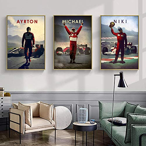 MXK Vintage F1 Legendary Driver Ayrton Senna Michael Lewis Colin Arte de la Pared Posters e Impresiones Pintura en Lienzo Sala de Estar Decoración para el hogar 50x70cm Sin Marco