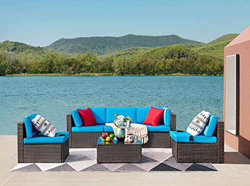 Devoko Patio Furniture Sets 6 Pieces Outdoor Sectional Rattan Sofa Manual Weaving Wicker Patio Conversation Set with Glass Table and Cushion (Blue)