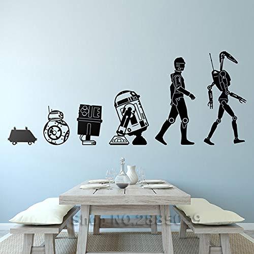 Hollywood Movie Star Smart Robot Wars Evolution Droide BB8 R2-D2 C-3PO Vinilo Adhesivo de pared Niño Niños Guardería Dormitorio Sala de estar Decoración para el hogar Mural