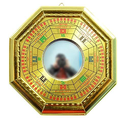 xiaodou Konvexer konkaver Bagua-Spiegel Chinesische Feng Shui Konkav Konvex Metall Gossip Bagua Pakua Spiegelkompass for Lucky Blessing Hauptwand-Dekorative Konvexer Konkavspiegel (Color : B)