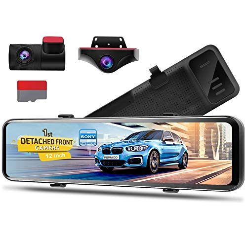 PORMIDO 12 inch Mirror Dash Cam with Detached Front Camera 360°,Anti Glare Touch Screen Full HD 1920P,Car Rear View Backup Camera Dual Lens Sony,Super Night Vision,Parking Monitoring