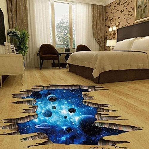 Pegatina de pared 3D azul/suelo azul/póster de vinilo roto extraíble pegatina de bricolaje extraíble autoadhesivo decoración de la habitación de los niños artículos decorativos murales