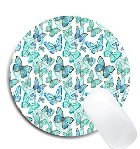 Beautiful Butterflies Round Mouse Pad,Premium-Textured Non-Slip Rubber Base Mousepads Office Accessories Desk Decor Mouse Pads for Computers Laptop