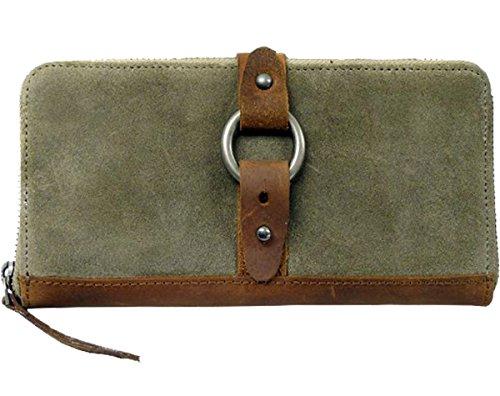 LandLeder Land´s & Leather Vollrindleder Kuvertbörse mit Reißverschluss grün-braun