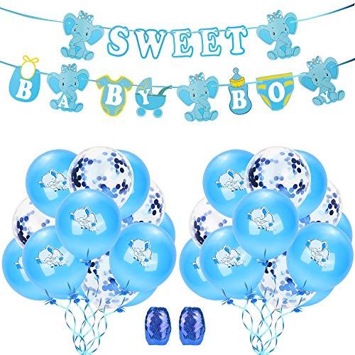 Etmury Geburtstag Dekorationen Set Elefant Happy Birthday Girlande mit Banner, Hochwertig Latexballon und Konfetti Ballons, für Mädchen Junge Kinder Geburtstagsdeko Theme Party
