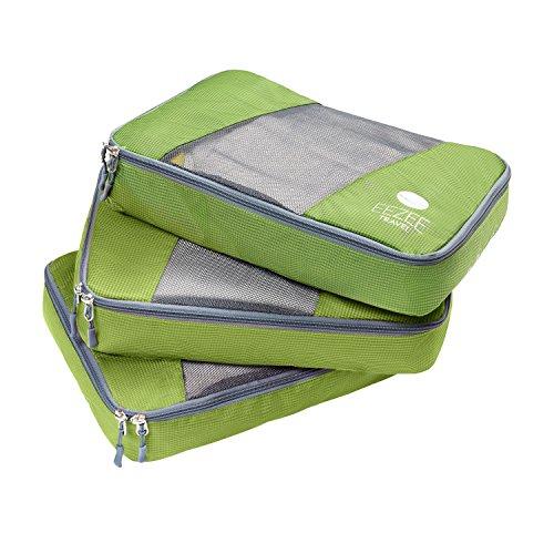 EEZEE imballaggio leggero organizzatori lavanderia borsa portascarpe per viaggiare campeggio vacanze doppio Ripstop PU rivestimento Set di 3 sottile (EE0007-Verde)