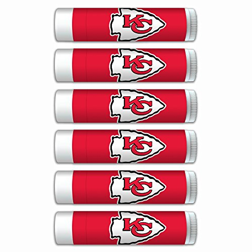 NFL Kansas City Chiefs Gifts for Men and Women Premium Lip Balm 6-Pack with SPF 15, Beeswax, Coconut Oil, Aloe Vera. Ideal for Mother's Day, Father's Day, Easter, Stocking Stuffers