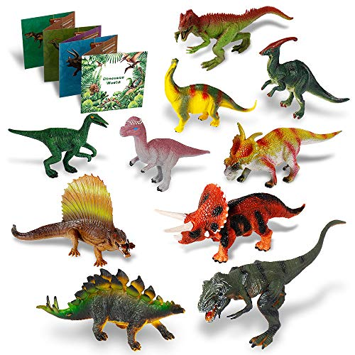 Dinosaur Toys - 10 Realistic Dinosaur Figures, Activity Kids Play Mat & Trees for Creating a Dino World Including T-Rex, Triceratops, etc, Perfect Dinosaur Gifts for Boy & Girl 3,4,5,6,7,8 Years Old