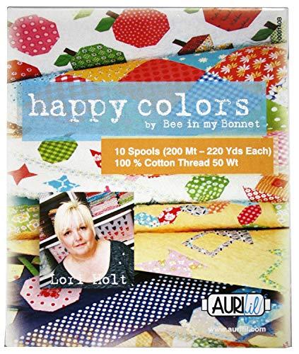 Aurifil Thread Set HAPPY COLORS By Lori Holt 50wt Cotton 10 Small (220 yard) Spools