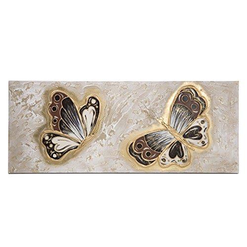 Lohoart L-1276-L - Cuadro Sobre Lienzo Pintado Artesanal, Cuadro Pared Color Oro, Medidas: 150X60X3,50 cm