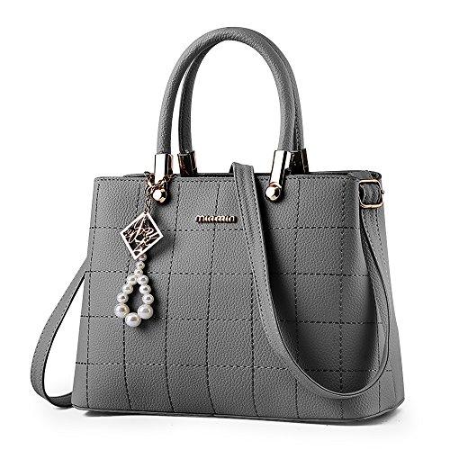 BestoU handtaschen damen Schwarz groß Leder Damen Schultertasche Frauen Umhängetasche (Grau)