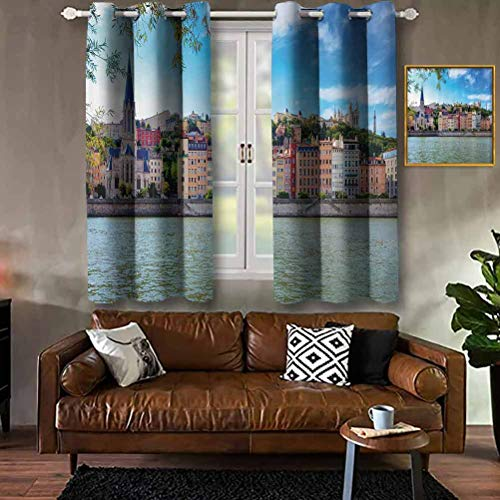 RenteriaDecor European,Lyon City Village France with Colorful Historical Cathedral by River Panorama,Multicolor Modern Print Curtains Darkening Blackout Window Curtains with Grommets W84 X L90 Inch