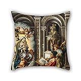 Slimmingpiggy Kissenbezug mit Ölgemälde von Jan Gossaert – St. Luke Gemälde Madonna auf Zwei Seiten, 50,8 x 50,8 cm