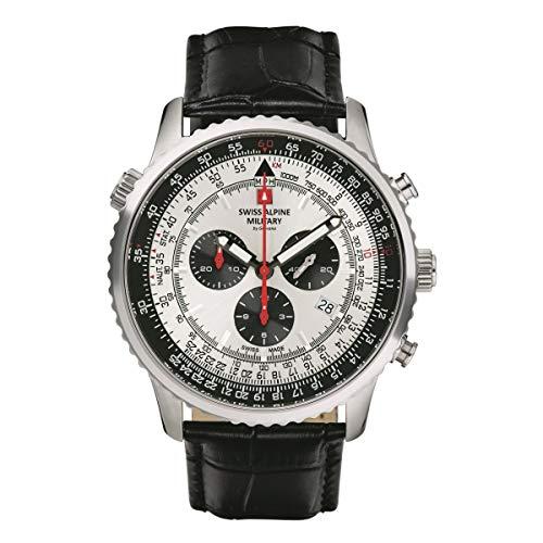 Swiss Alpine Military Herren Uhr Chronograph Analog Quarz 7078.9538SAM Leder