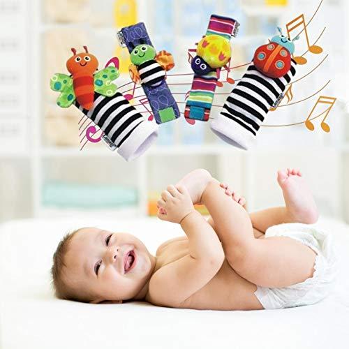 ABCFR Accueil Produits pour Bébé 1 Jeu de Chaussettes pour Bébé et de Chaussettes Cloche (2 Chaussettes + 2 Poixts) -Un Jouet Sensoriel pour Le Développement du Bébé pour Les Garçons et Les Fills