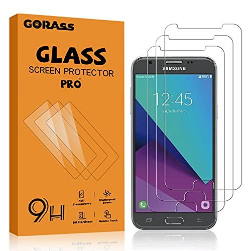 GORASS Protector de Pantalla para Galaxy J3 2017, 3 Unidades 9H Protector de Pantalla de Cristal Templado para Samsung Galaxy J3 2017, Transparente, Sin Burbujas