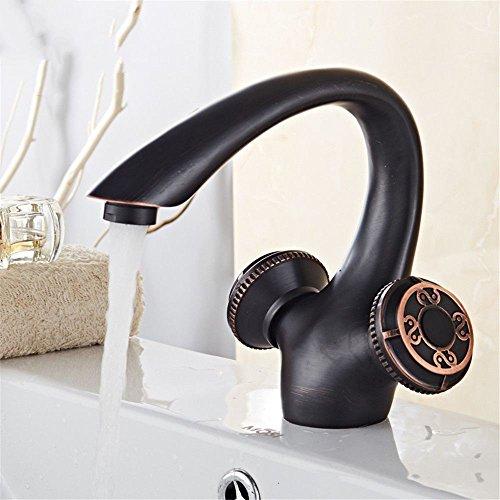 Qimeim Grifo mezclador de lavabo de baño grifo del fregadero mezclador de lavado 2 palanca agua caliente y fría baño mezclador grifos