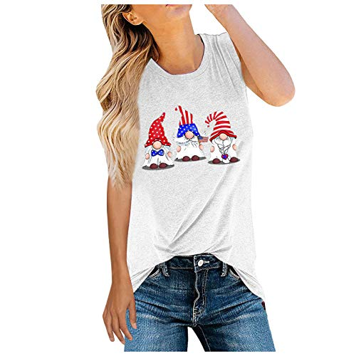 T-Shirt Damen O-Ausschnitt Ärmellos Sommershirts Frauen Casual Oberteile Tee Mädchen Rundhals Druck Tanktops Bluse Hemd Shirts Tees Camisole Vest