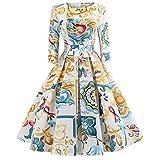Longra Damen Vintage 1950er Partykleid Rockabilly Kleid Langarm Retro Cocktailkleid Damen Kleider Blumedruck Schöne Kleider Festliche Kleider Elegante Abendkleider Swing Kleider (2XL, Gelb)