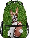Fußball-Hund, der Rugbyball-Schulrucksack-wasserdichte Schulter-Büchertasche, Mohnblumen-Laptop-Beutel-beiläufiger Tagessatz-im Freienspielraum-Sport-Beutel hält