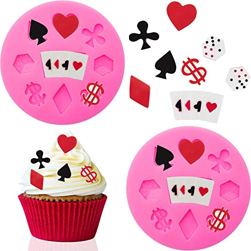 2 Pieces Poker Silicone Molds 3D Sugar Chocolate Fondant Molds Playing Cards Design Non-stick Candy Mold for Cake Decorating Baking Mold, Pink
