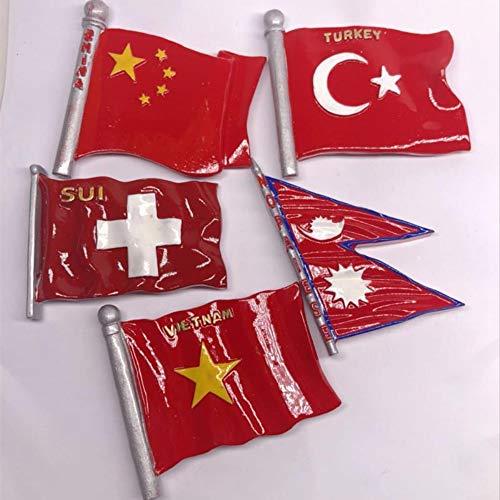 yqs Fridge Magnets 5pcs Fridge Magnet Resin 3d National Flag Of Worldwide Australia Laos Panama Russia Uruguay Turkey Flag Fridge Sticker Decor