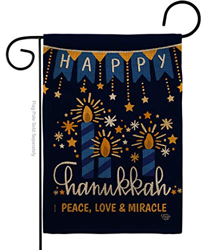 Ornament Collection Peace Love Happiness Garden Flag Winter Hanukkah Candle Bonsai Menorah Jewish Chanukah David House Decoration Banner Small Yard Gift Double-Sided, 13'x 18.5', Thick Burlap