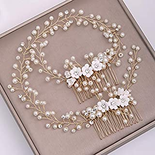 Sponsored Ad - Kercisbeauty Pearl Hair Vine for Women Bridal Gold Hair Combs Rose Headband Prom Special Occasion Jewelry