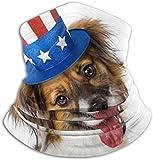 Teemoo Fleece-Halswärmer, multifunktionaler Happy Cute Dog mit rot-weißem Schal, Vollmaske oder Hut, Nackenschutz, Nackenkappe, Skimaske, Halbmaske, Gesicht