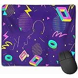 Gaming Mouse Pad Amarillo Juego Retro Ochenta Resumen Patrón Colorido 80s Música Video Fiesta Radio Pop