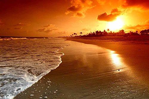 FAN C. Cuadro sobre Lienzo – Playa Amanecer Mar Palmera Paisaje Marino Fotografía Pared Impresións – 120X80 cm