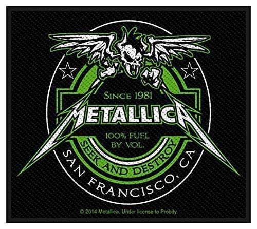 R&z Metallica Bier Etikett Aufbügelbare Tuch Aufnäher 100mm X 80mm ( Rz )