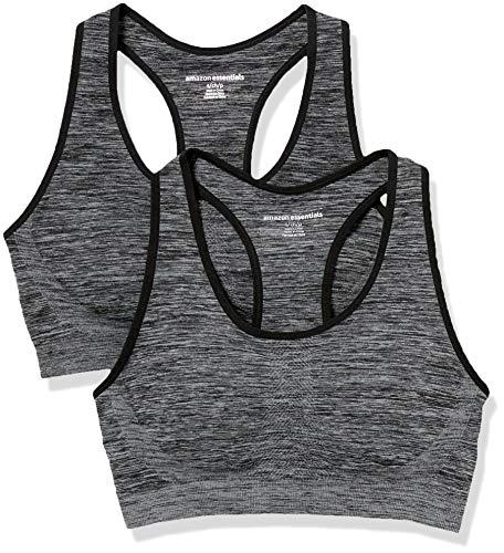 Amazon Essentials Women's 2-Pack Light-Support Seamless Sports Bras, Black Spacedye/Black Spacedye, Large