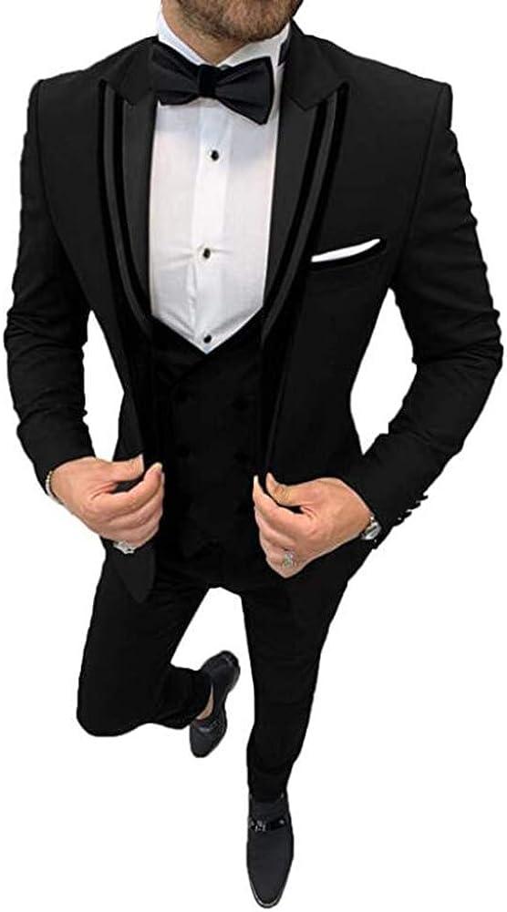 Men's Peak Lapel One Button 3 Pieces Slim Fit Wedding Groom Tuxedo
