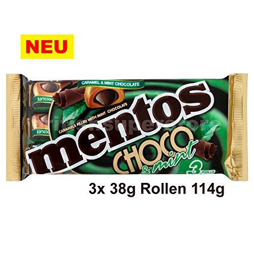 Mentos Choco & Mint Chewy Caramels 3 x 38g Rollen 114g