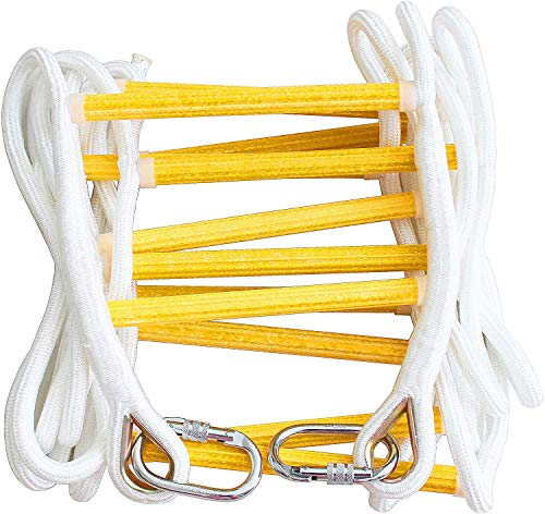 Fire Escape Ladder 2 Story 16ft Flame Resistant Safety Rope Ladder with Carabiners –Fast to Deploy & Easy to Use & Store - Compact - Weight Capacity up to 2000pounds (16ft) Emergency ladders