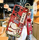 Compatible with iPhone 12 Pro Max Case with Phone Lanyard, 6.7 inch Cute Japanese Lucky Cat Design, Glitter Luxury Soft Silicone 3D Emboss Phone Case with Wrist Strap (iPhone 12 Pro Max, Red)