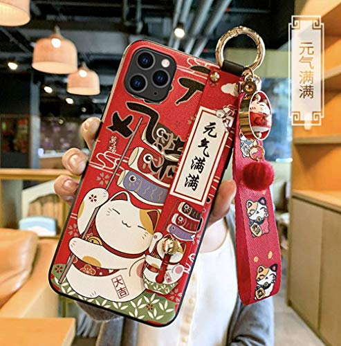 Kompatibel mit iPhone 12 Pro Max Hülle mit Phone Lanyard, 6,7 Zoll Cute Japanese Lucky Cat Design, Glitter Luxus Soft Silikon 3D Emboss Phone Case iPhone mit Handschlaufe (Rot, iPhone 12 Pro Max)