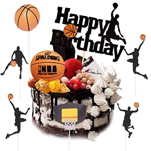 Juego de tartas de baloncesto, 7 unidades, decoración de cake de baloncesto, temáticas de pasteles, frutas, para hombres, jóvenes, cumpleaños, eventos, fiestas, color negro brillante