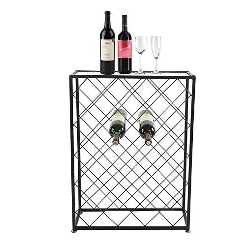 lyrlody Weinregal, 32 Flaschen Weinlagerregal Boden Flasche Weinhalter Tisch Schnaps Vitrine für Home Küche KTV Bar Restaurant Schwarz, 53 × 20,5 × 71cm