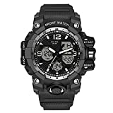 Dual Display Men's Digital Watch, Multifunctional Military Watch, Daily Sports, Large Dial Men's Wrist Watch (Black and Silver)