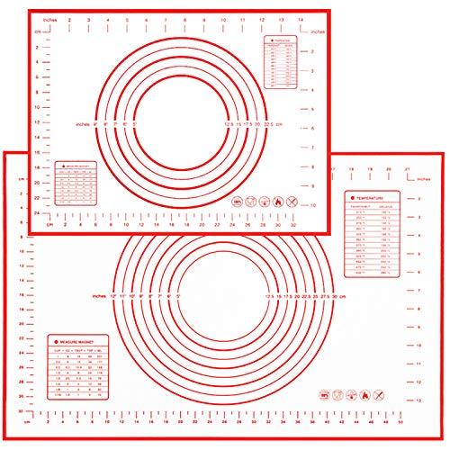 Goalfly Base de silicona para hornear (60 x 40 cm + 40 x 30 cm), 2 alfombrillas de silicona con medición reutilizable