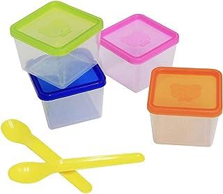مجموعة من 4 قطع من أوعية تخزين طعام الأطفال و2 ملعقتين من البلاستيك سعة 14.7 مل قابلة للتكديس مانعة للتسرب بلون عشوائي