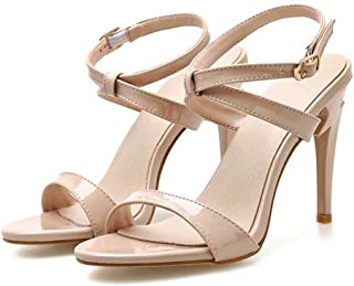 Women OpenToe Sandals,Ladies Buckle Strap Stiletto Sandals,Adjustable Cross Buckle Ankle Strap for Formal And Special Occasions