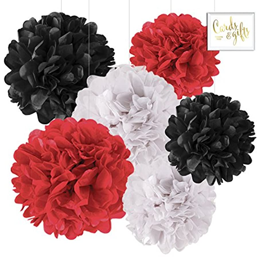 Andaz Press Hanging Tissue Paper Pom Poms Party Decor Trio Kit with Free Party Sign, Red, White, Black, 6-Pack, for Ladybug Baby Shower Birthday Decorations