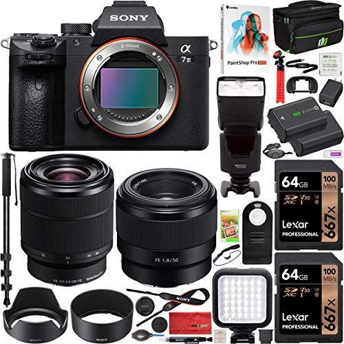 Sony ILCE-7M3K B a7III Full Frame Mirrorless Camera with SEL2870 FE 28-70 mm F3.5-5.6 OSS Lens Bundle with SEL50F18F FE 50mm F1.8 Lens, 2X 64GB Memory, Deco Gear Case and Accessories (15 Items)