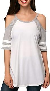 41816c8c7f1594 HX fashion Camicetta Estivi Donna Elegante Casual Magliette Classiche  Prodotti Plus Top Manica 3/4