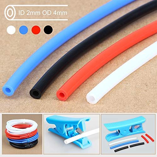 3D Printer Parts Tube Teflon Pipe Extruder 1.75mm ID2mm OD4mm 1M 2M met Cutter en Kabelbinder Qitao (Color : Blue, Size : 2M PTFE with Cutter)
